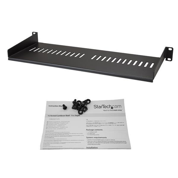 StarTech.com Vented 1U Rack Shelf - 7 in. Deep CABSHELF1U7V - V&L Canada