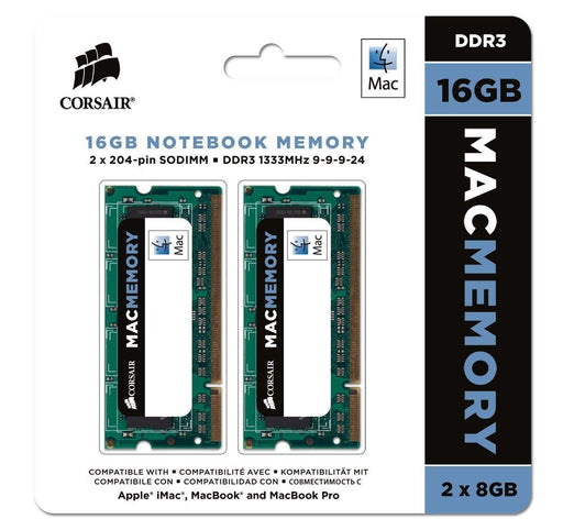 Corsair Apple Certified 16GB (2x8GB) DDR3 1333 MHz PC3 10666 Laptop Memory (CMSA16GX3M2A1333C9) - V&L Canada