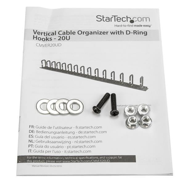StarTech  Vertical Cable Organizer with D-Ring Hooks - 0U - 3 ft. (CMVER20UD) - V&L Canada