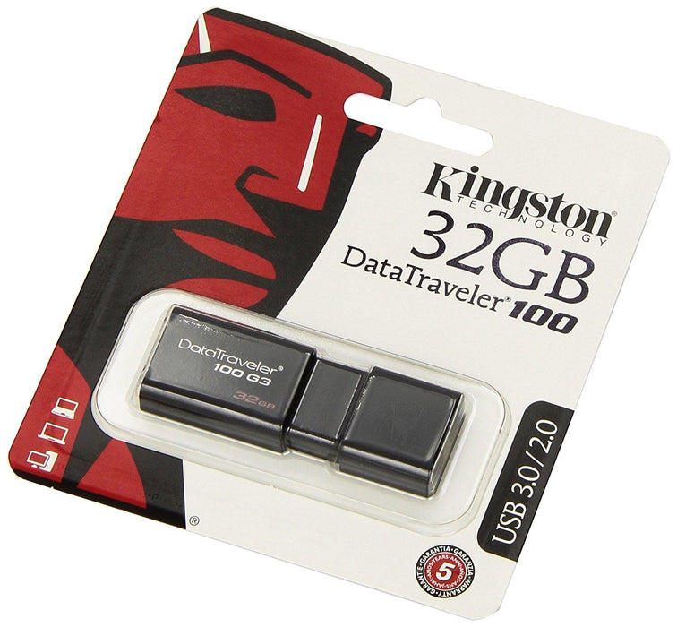 Kingston Technology DataTraveler 100 Generation 3 32GB 32GB USB 3.0 (3.1 Gen 1) USB Type-A connector Black USB flash drive (DT100G3/32GB) - V&L Canada