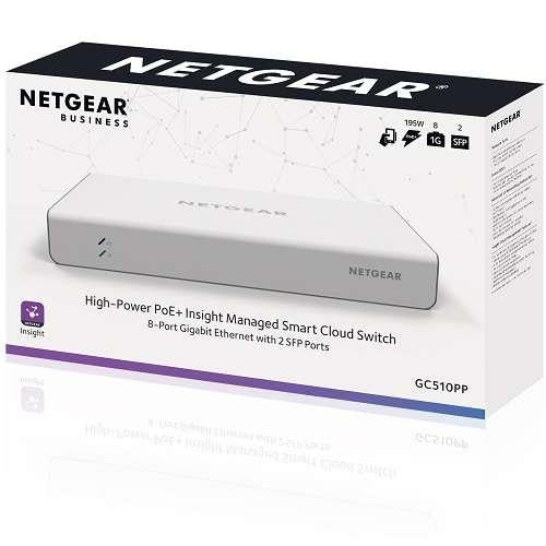 NETGEAR Insight Managed 8-port Gigabit Ethernet High-Power PoE+ Smart Cloud Switch | 8 ports PoE+ copper Ethernet + 2 ports SFP FIber | 195W PoE | White | Mobile/app managed | Remote/Cloud management (GC510PP-100NAS) - V&L Canada