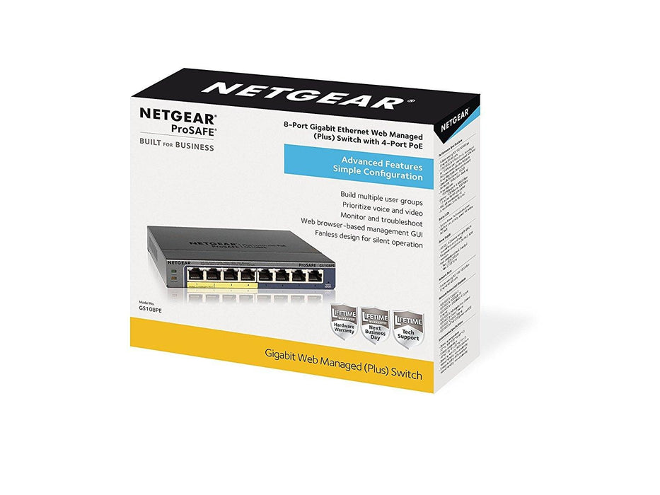 Netgear GS108PE Managed network switch Gigabit Ethernet (10/100/1000) Power over Ethernet (PoE) Black (GS108PE-300NAS) - V&L Canada