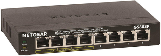 NETGEAR 8-Port Gigabit Ethernet Switch with 4-Port PoE (GS308P-100NAS) - V&L Canada