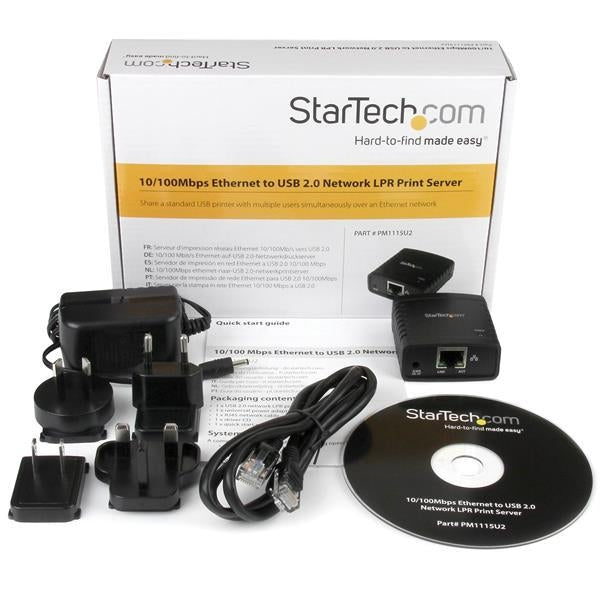 StarTech 10/100Mbps Ethernet to USB 2.0 Network LPR Print Server (PM1115U2) - V&L Canada