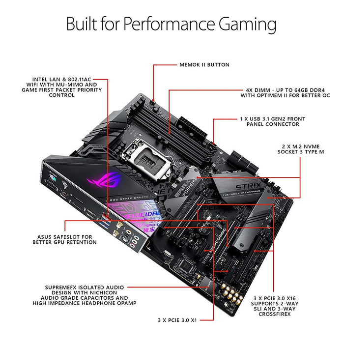 ASUS Motherboard ROG Strix Z390-E Gaming LGA1151 Z390-E DDR4 DisplayPort HDMI USB WiFi ATX Retail