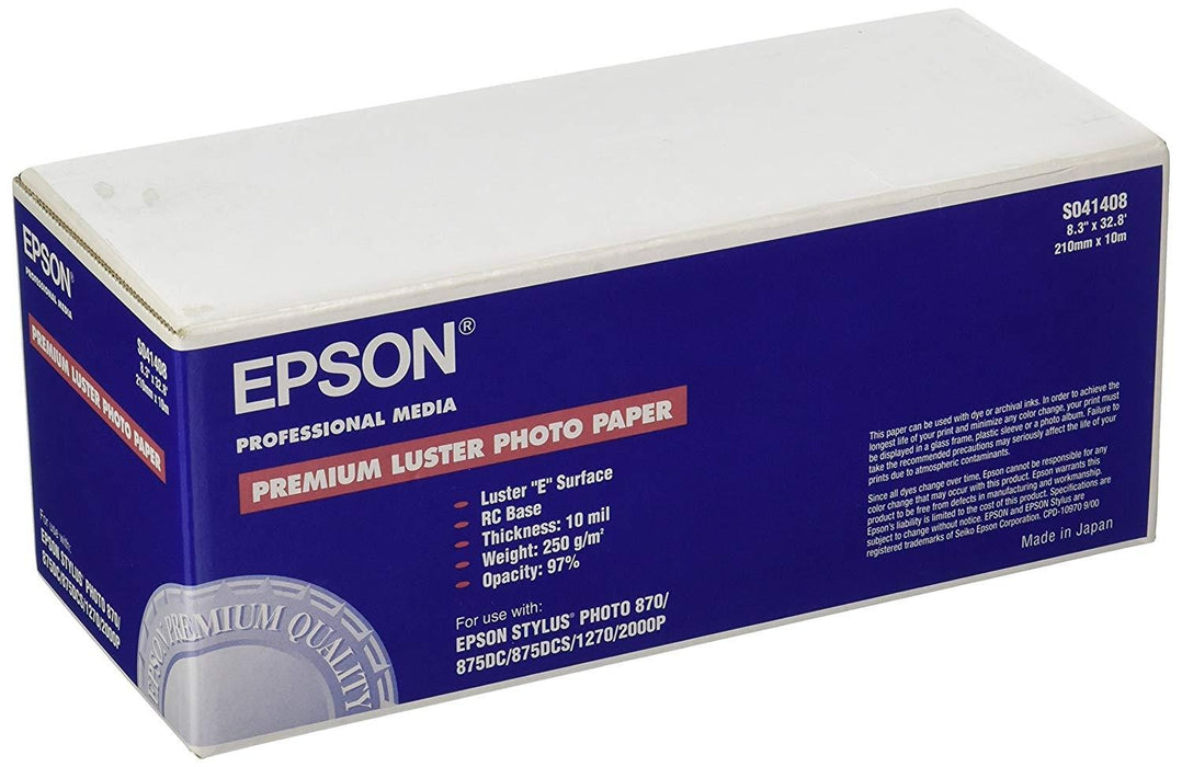 Epson Paper - luster photo paper - white - Roll A4 (8.25 in x 33 ft) - 240 g/m2 (S041408)