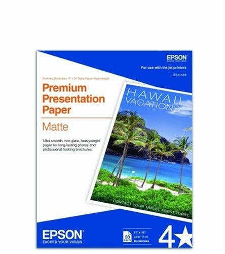 "Epson Premium Presentation Paper Matte, Borderless - 11"" x 14"" - Matte - 50 Sheet photo paper (S041468)"