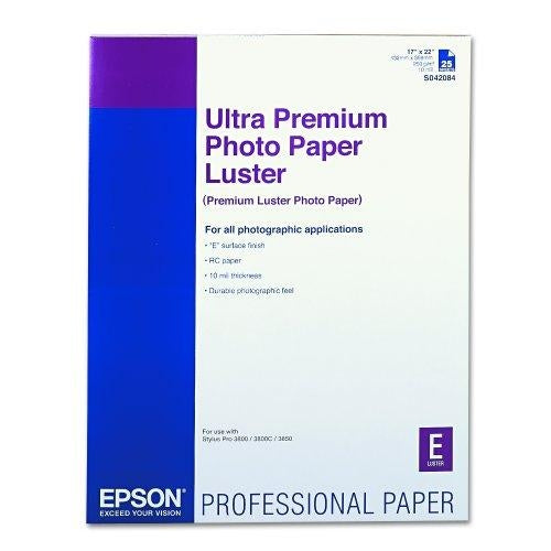 "Epson Ultra Premium Photo Paper Luster - C - 17"" x 22"" - 25 Sheet photo paper (S042084)"