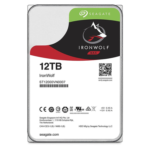 Seagate Hard Drive ST12000VN0007 12TB 3.5 inch 7200RPM 256MB SATA 6GB/s Ironwolf Bare - V&L Canada