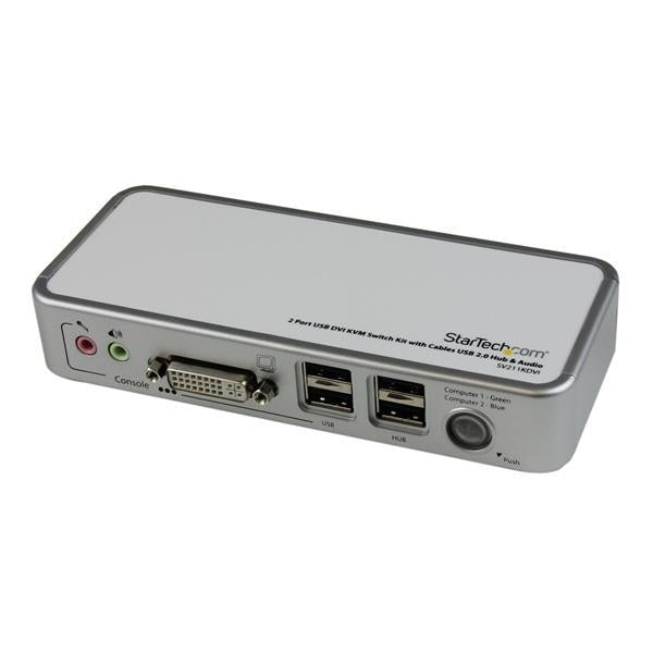 StarTech  2Port USB DVI KVM Switch Kit with Cable USB2.0 Hub Audio Retail (SV211KDVI) - V&L Canada