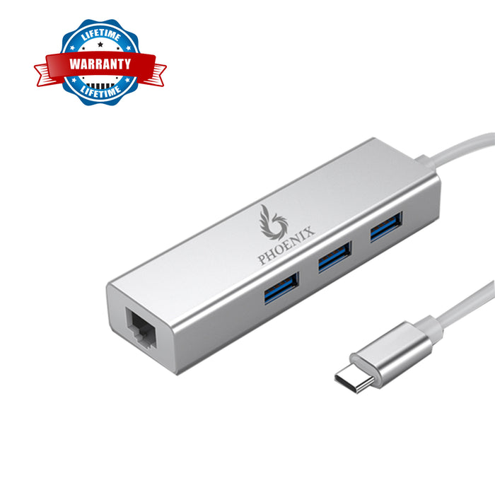 Phoenix USB Type-C to 3 Port USB Hub with Ethernet Adapter - Aluminum alloy