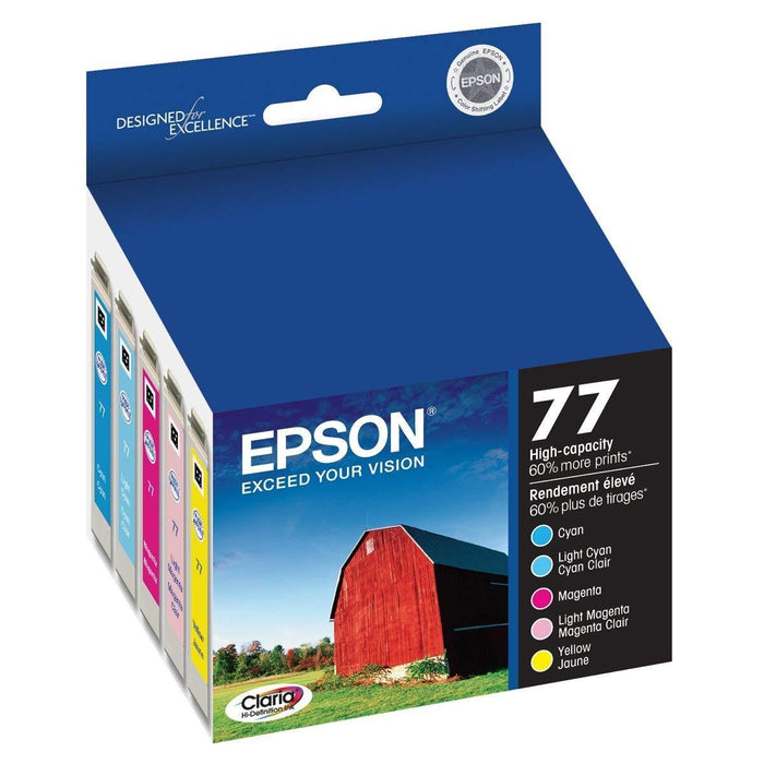 Epson T077920 Multi-Pack High Capacity Color Ink Cartridges Cyan, Light cyan, Light magenta, Magenta, Yellow ink cartridge (T077920-S)