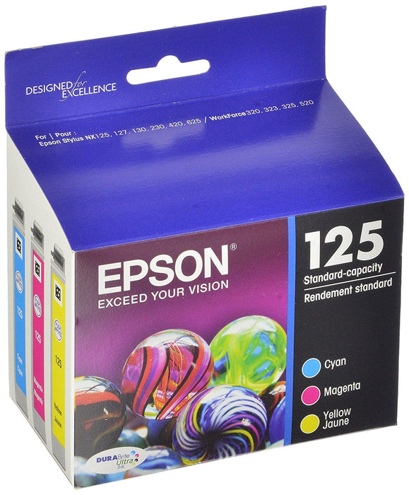 Epson 125, Color Ink Cartridges, C/M/Y 3-Pack (T125520) (T125520-S-K)