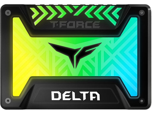 "Team Group T-FORCE DELTA R RGB SSD (Rainbow) 2.5"" 500GB SATA III Internal RGB Solid State Drive - Black (For MB with 5V ADD Header) (T253TR500G3C313)"