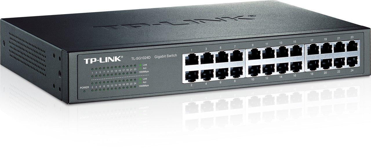TP-LINK 24-Port Gigabit Desktop/Rackmount Switch Unmanaged network switch Gigabit Ethernet (10/100/1000) Grey (TL-SG1024D) - V&L Canada