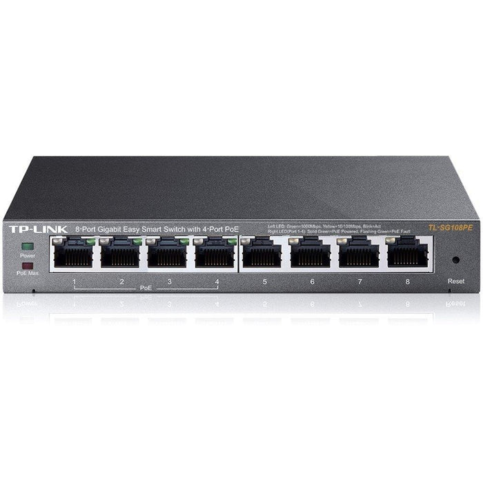 TP-LINK 8-Port Gigabit PoE Web Managed Easy Smart Switch with 4 PoE Ports (TL-SG108PE) - V&L Canada