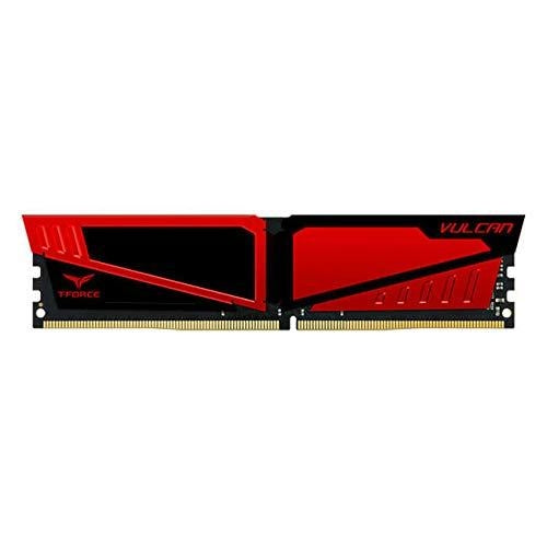 TEAMGROUP T-Force Vulcan DDR4 16 GB (2x8GB) 2400MHz (PC4-19200) CL16 Desktop Memory Module ram (Red) (TLRED416G2400HC16DC01)