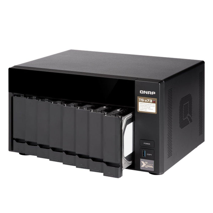 QNAP 8-bay NAS/iSCSI IP-SAN, AMD R series Quad-core 2.1GHz, 4GB RAM, 10G-ready (TS-873-4G-US) - V&L Canada
