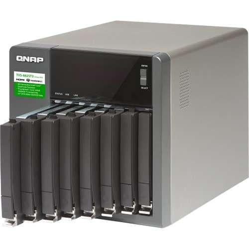 "QNAP Ultra-High Speed 8bay NAS - Intel Core i7-6700HQ quad-core 2.6GHz, 16GB DDR4, 8x 2.5"" SATA 6Gb/s, 2x Thunderbolt 3, 2x 10GBASE-T, 2x RJ45, 1x Type-C USB 3.1, 1 x 12 cm fan - TVS-882ST3-I7-16G-US - V&L Canada"