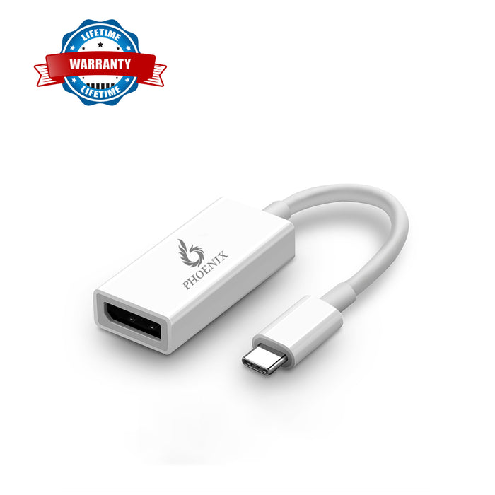 Phoenix USB Type-C (Thunderbolt 3) to DisplayPort 4K@60Hz Adapter USB Type C to DisplayPort/Dp Male to Female Converter
