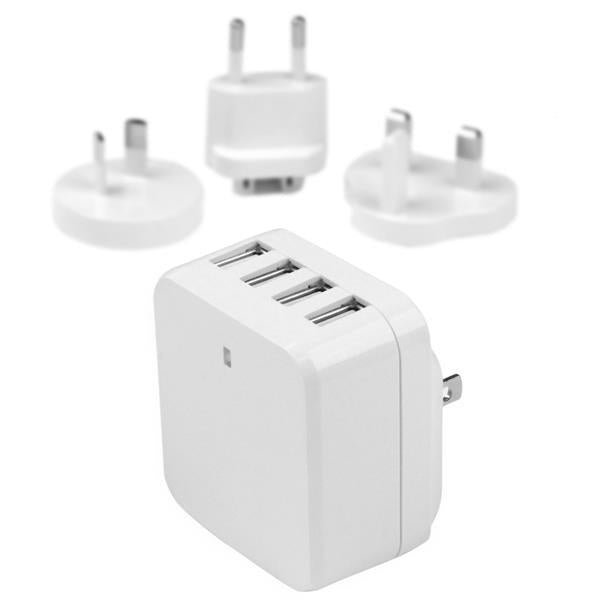StarTech 4-Port USB Wall Charger - International Travel - 34W/6.8A - White (USB4PACWH)