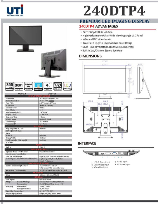 "UTI 240DTP4 PREMIUM 24"" LED TOUCHSCREEN DISPLAY *NO MONITOR STAND*"