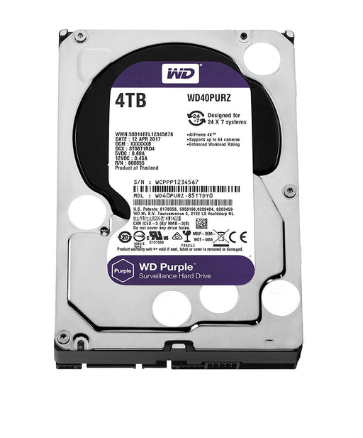 WD PURPLE 4TB SATA 6 GB/S 64MB INTELLIPOWER 3.5  3 YEARS WARRANTY (WD40PURZ) - V&L Canada