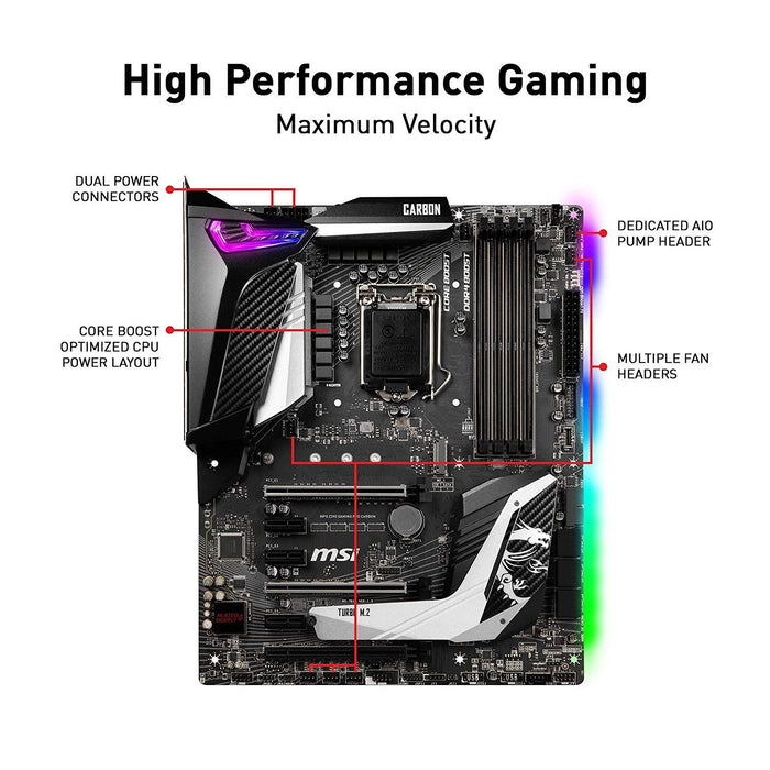 MSI Motherboard Z390GPCAR MPG Z390 GAMING PRO CARBON LGA1151 Core9000 64GB DDR4 PCI-express SATA ATX Retail