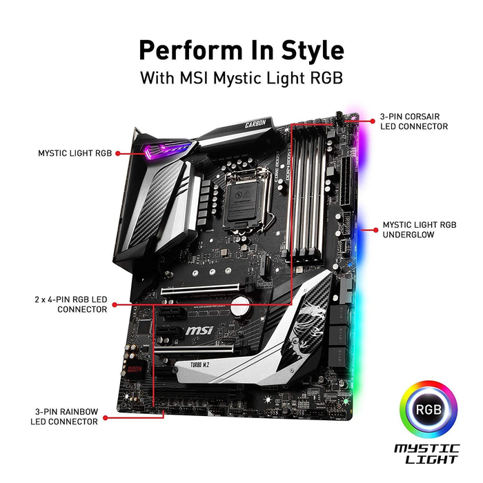 *Bundle Deal* MSI Motherboard Z390GPCAR MPG Z390 GAMING PRO CARBON LGA1151 Core9000 64GB DDR4 + Team Group T-Force Delta II RGB Series 16GB (2 x 8GB) 288-Pin DDR4 SDRAM DDR4 2666 (PC4 21300) Desktop Memory Model TF4D416G2666HC15BDC01
