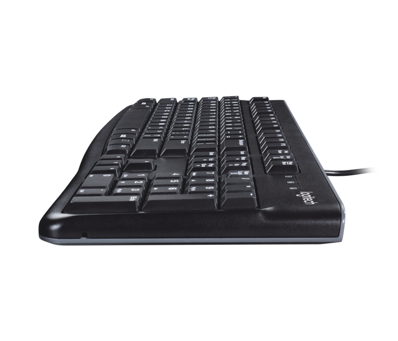 Logitech K120 Slim Corded Keyboard - USB Interface - English - Black - V&L Canada