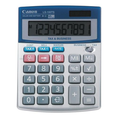 Canon LS-100TS 10 Digit Desktop Calculator, LCD Display, Battery/Solar Powered (5936A003)