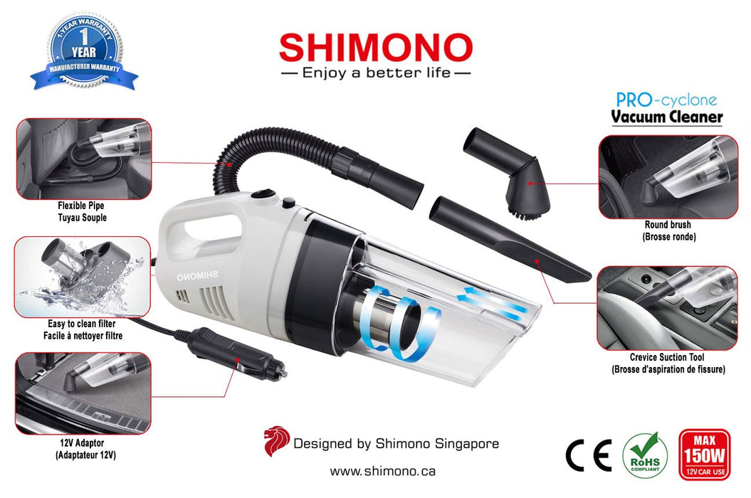 Shimono Car Vacuum Portable 150W 12V 4000Pa Handheld Lightweight Cyclone Cleaner - V&L Canada
