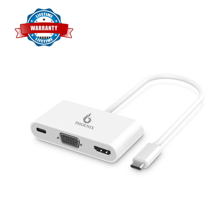 Phoenix USB  Type-C to USB 3.0 AF*2 + VGA + HDMI + CF (PD) ABS Eco Materials