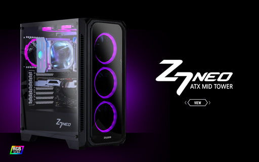 ZALMAN Z7 Neo ATX Mid-Tower case w/4 RGB Fans  1xUSB3.0 & 2x USB2.0  front & side tempered glass panels