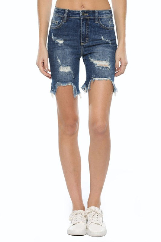 High Rise Distressed Bermuda Shorts