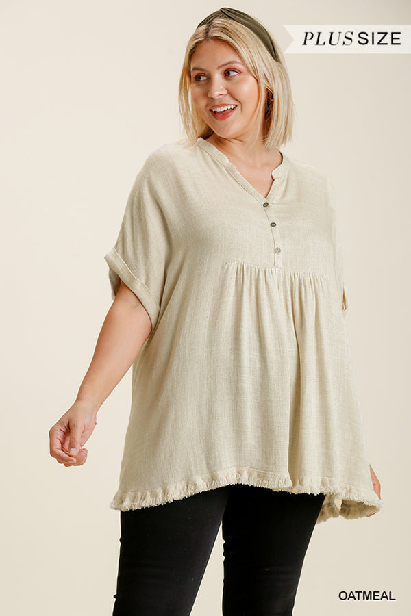 Oatmeal Frayed Hem Top