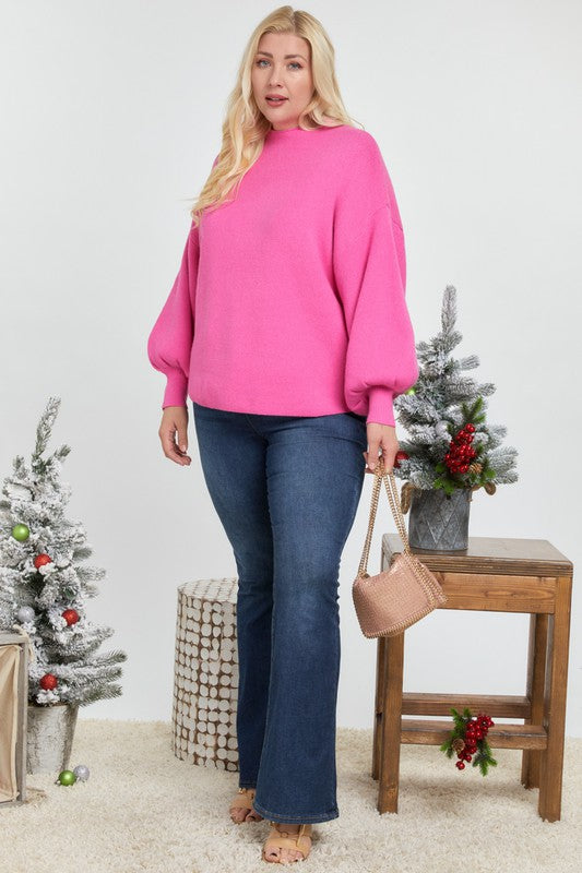 Plus Babelicious Pink Cozy Sweater Top