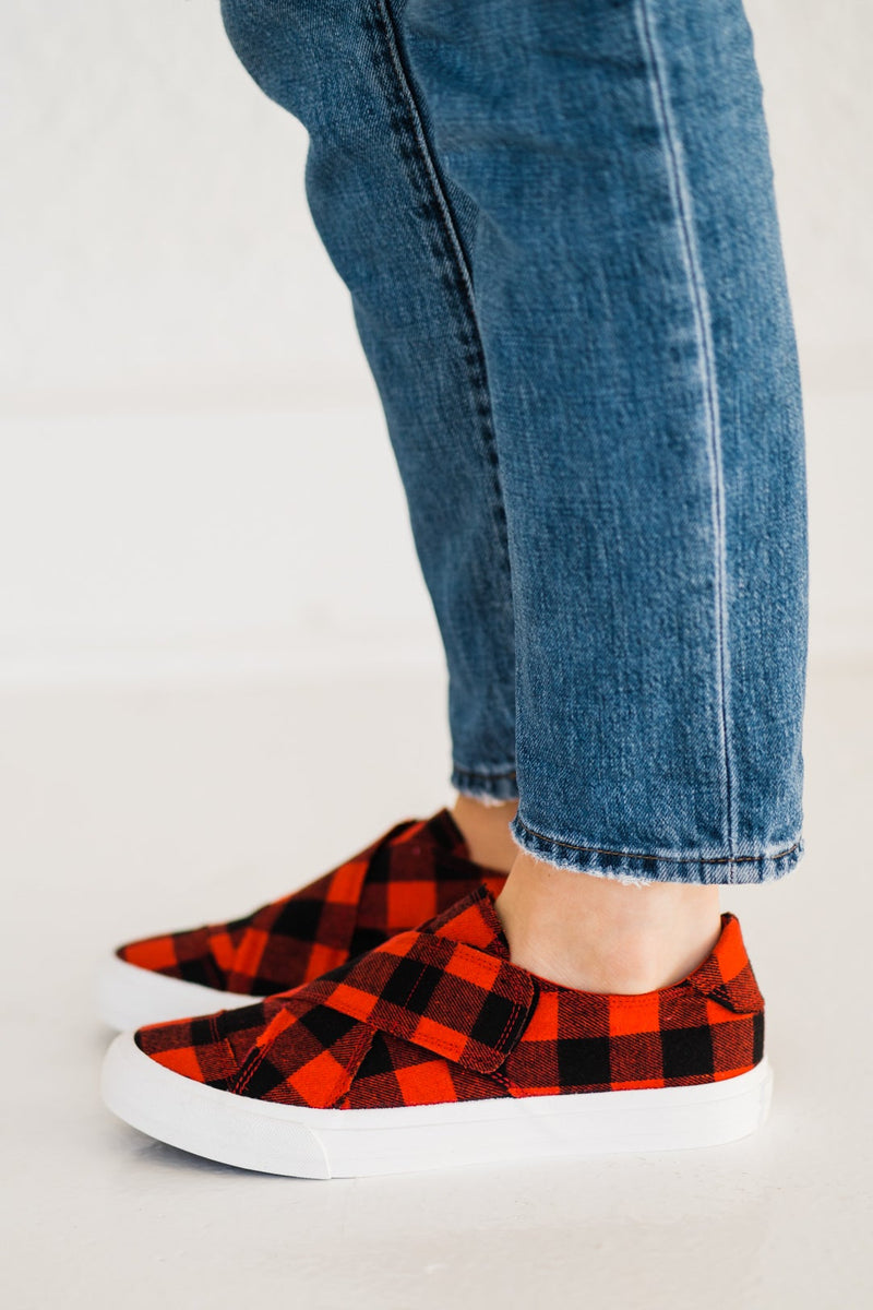 Very G Plaid Along Sneaker in Red