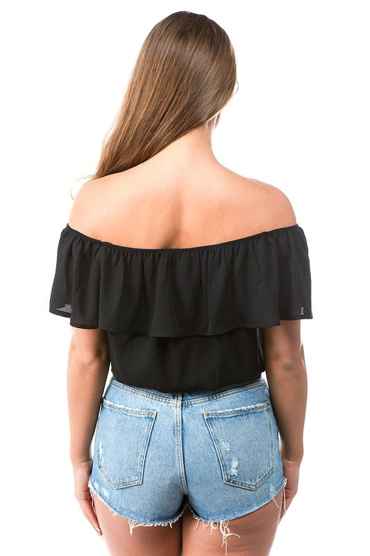 Off The Shoulder Ruffle Bodysuit