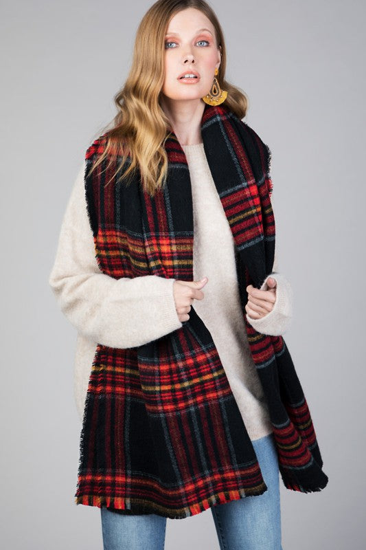 Oversized Plaid Scarf