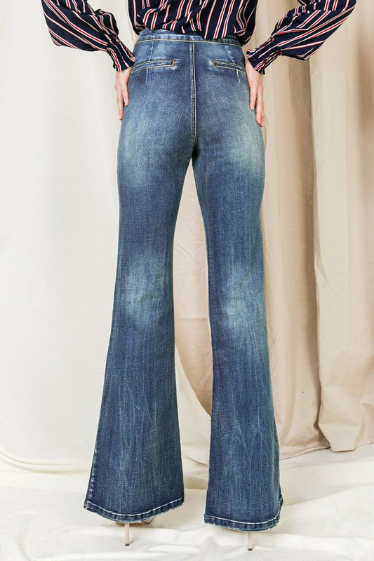 Vintage Denim Washed Flared Bottom Jeans