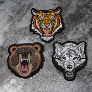 Tiger Bear Wolf Head Animal Embroidery Iron On Patches Morale Tactical Emblem Applique DIY Hat Coat Sticker Gifts Drop Shipping - US Tactical Warehouse