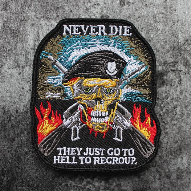 """Old Soldiers Never Die"" Skull Embroidered Morale Patches - US Tactical Warehouse"
