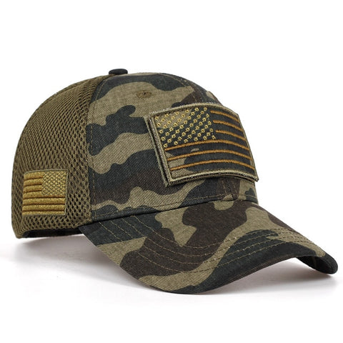 tactical camouflage baseball caps men's summer mesh military army hats designed baseball caps with stripes of the USA flag - US Tactical Warehouse