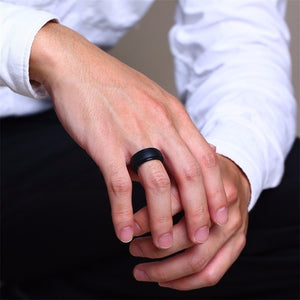 Silicone Rubber Wedding Bands for Men & Women Black/White
