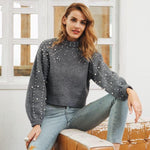 Pearl turtleneck knitted lantern sleeve loose Sweater Shirt - Valerian Boutique