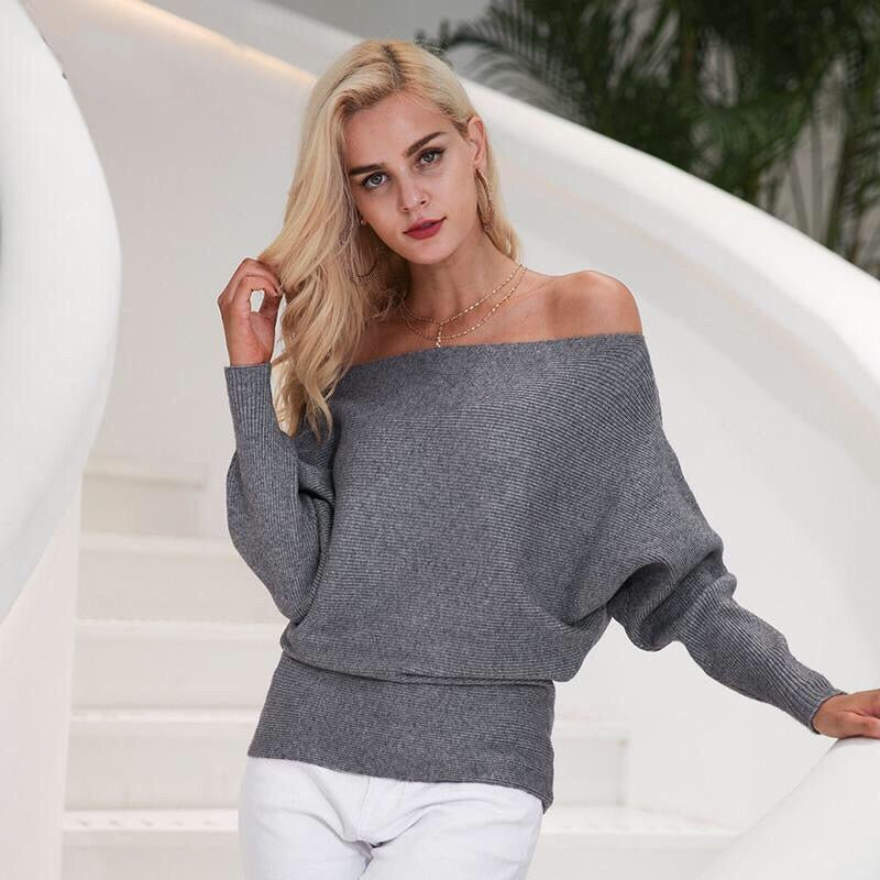Off shoulder Elastic knitting pullover Bat long sleeve Shirt - Valerian Boutique