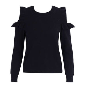 Shoulder Knitted Long Sleeve Pullover Shirt - Valerian Boutique