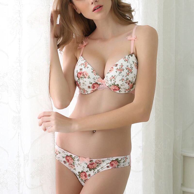 Push Up Bow Rose Satin panties Bra sets - Valerian Boutique