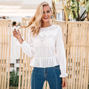 Hollow Out Long Sleeve White Blouse - Valerian Boutique